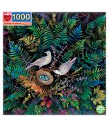 eeBoo Birds In Fern Square Puzzle