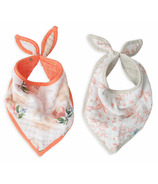Little Unicorn Cotton Muslin Bandana Bib Set Watercolour Rose