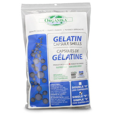 Organika Gelatin Capsules Shell Size Single 0