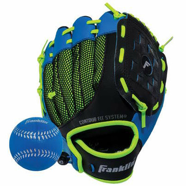 "Franklin Sports Neo-Grip 9"" Glove and Ball Set Blue"