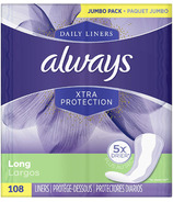 Always Xtra Protection Daily Liners Long Unscented