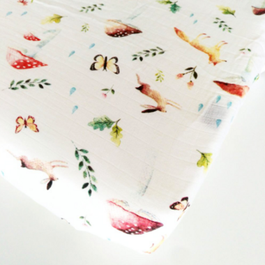 Loulou Lollipop Muslin Crib Sheet Woodland Gnome