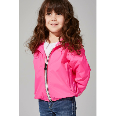 O8 Lifestyle Kid\'s Full Zip Packable Jacket Pink Fluo