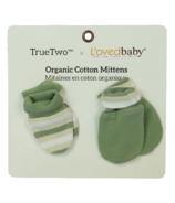 True Two x L'ovedbaby Organic Cotton Mittens Seafoam Stripe
