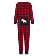 Hatley Adult Union Suit Moose On Plaid