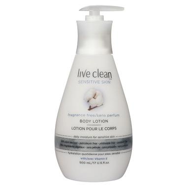 Live Clean Sensitive Skin Fragrance Free Body Lotion