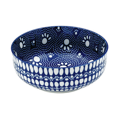 Ore Pet Speckle & Spot Deep Bowl in Bandana Blue