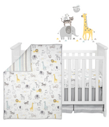 Lambs & Ivy Animal Jungle Cotton Jersey 4-Piece Crib Bedding Set Multicolor