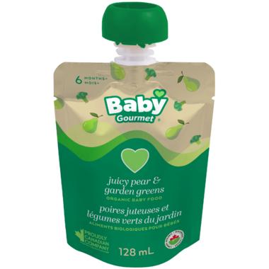 Baby Gourmet Juicy Pear and Garden Greens Organic Baby Food