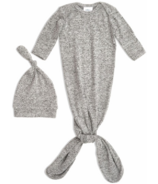 aden+anais Snuggle Knit Gown and Hat Set Heather Grey 0-3 Months