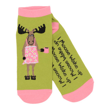 Hatley Little Blue House Women\'s Ankle Socks I Moose Wake Up