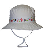 Calikids Mesh Lined Bucket Hat With Floral Details White