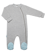 Kushies Side Zip Sleeper Light Grey & Blue Feet