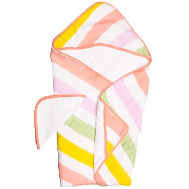 Little Unicorn Cotton Hooded Towel & Wash Cloth Set Cabana Stripe