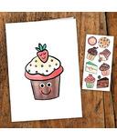 PiCO Temporary Tattoos Cupcake Card & tattoos