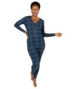 Smash + Tess The S+T Present in Plaid Romper Blue Holiday Tartan