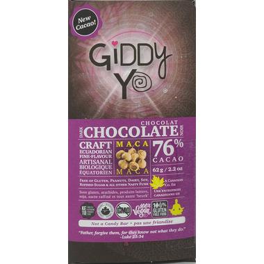 Giddy Yoyo Organic Maca 76% Dark Chocolate Bar
