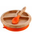 Avanchy Baby Organic Bamboo Stay Put Suction Plate and Spoon Orange
