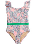 Shade Critters One Piece Swimsuit Ruffle Shoulder Pink Monstera