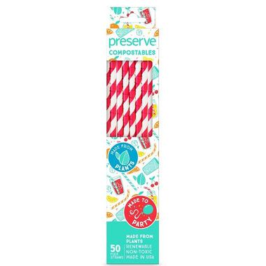 Preserve Compostables Straws Red