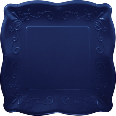 Elise Embossed Square Luncheon Plate Navy