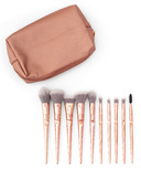 Zoe Ayla Rose Gold Holographic Makeup Bag 10 Rose Gold Ergonomic Brushes