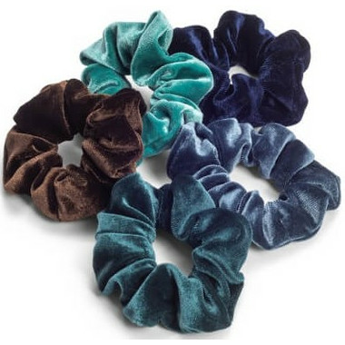 Zoe Ayla Velvet Scrunchies Teal Mix