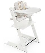 Chaise haute Stokke Tripp Trapp blanche et étoiles Coussin argenté et plateau blanc