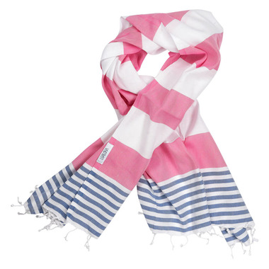 Lualoha Turkish Towel Striped Goodness Hot Pink & Denim