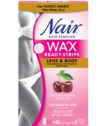 Nair Wax Ready-Strips à l'huile de cerise adoucissante pour la peau