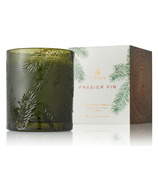 Thymes Heritage Frasier Fir Poured Candle Molded Green Glass