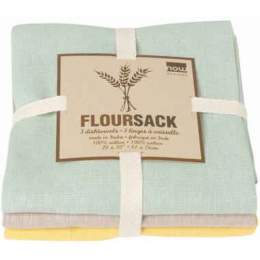 Now Designs Floursack Dishtowels Zest, Cloud & Jade