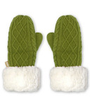 Pudus Mittens Cable Knit Green Adult