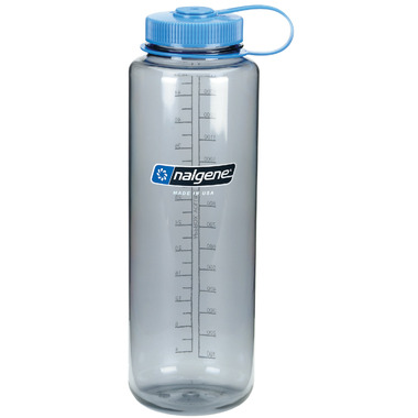 Nalgene 48 Ounce Silo Wide Mouth Bottle Gray with Blue Cap
