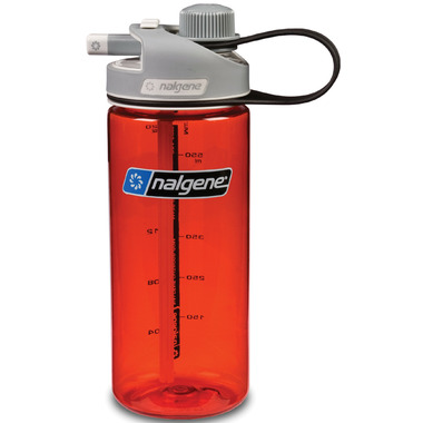 Nalgene 20 Ounce MultiDrink Bottle Red with Gray Cap