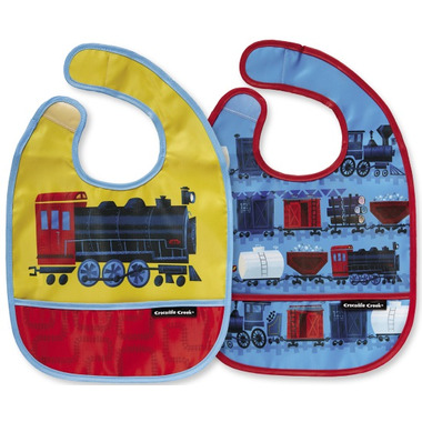 Crocodile Creek Bibs 2 Go with Pouch Riding the Rails