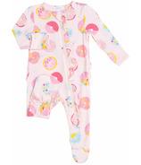 Angel Dear Donuts Ruffle Front Zipper Footie Pink