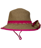 Calikids Mom & Me Straw Hat Raspberry Kid Sized