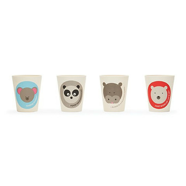 Red Rover Bamboo Fibre Cups with Animal