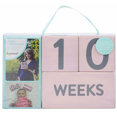 Pearhead Wooden Age Blocks Pink