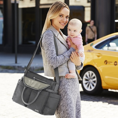 Skip Hop Chelsea Downtown Chic Diaper Satchel Charcoal Shimmer