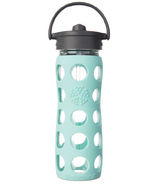 Lifefactory Glass Bottle Straw Cap & Turqouise Silicone Sleeve