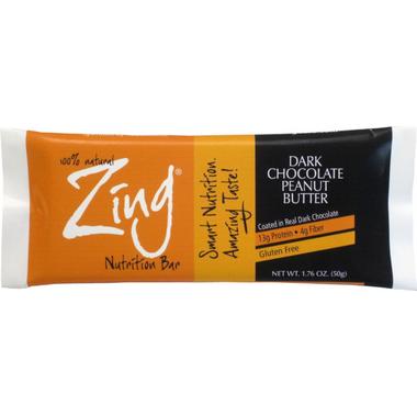 Zing Bars Dark Chocolate Peanut Butter Nutrition Bars