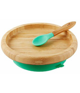 Avanchy Classic Bamboo Stay Put Suction Plate Green