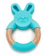 Loulou Lollipop Bunny Silicone and Wood Teething Ring Aqua