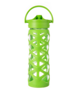 Lifefactory Glass Water Bottle with Axis Straw Cap & Lime Sleeve