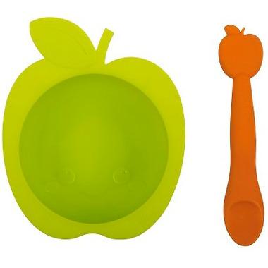 Kushies SiliBowl Silicone Bowl and Spoon Set Apple