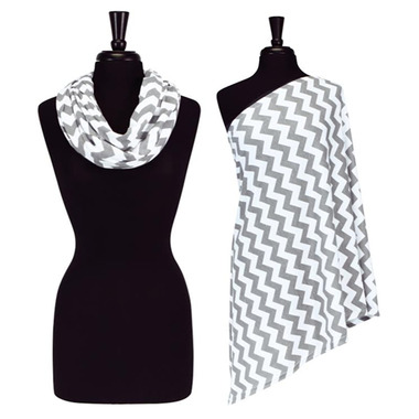 Itzy Ritzy Nursing Happens Infinity Breastfeeding Scarf Grey Chevron