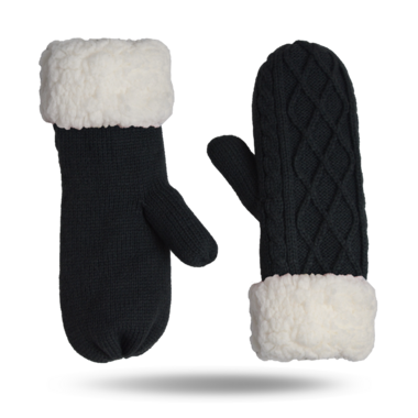 Pudus Mittens Cable Knit Grey Adult