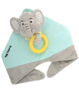 Malarkey Kids Buddy Bib 3-in-1 Sensory Teething Toy & Bib Elephant